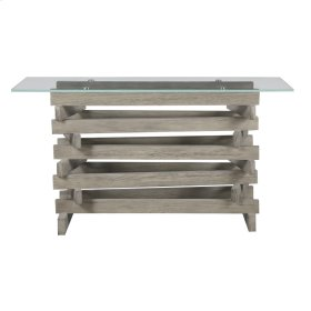 "Complete Sofa Table-rectangular 52""x17"" Glass Top W/pine Wood Pedestal Base-driftwood Finish"