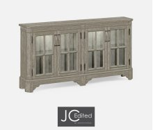 Rustic Grey Parquet Welsh Bookcase for Strap Handles