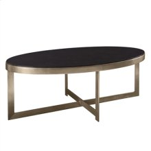 Silver Gilded Iron Cocktail Table with Black Penshell Inlaid Top