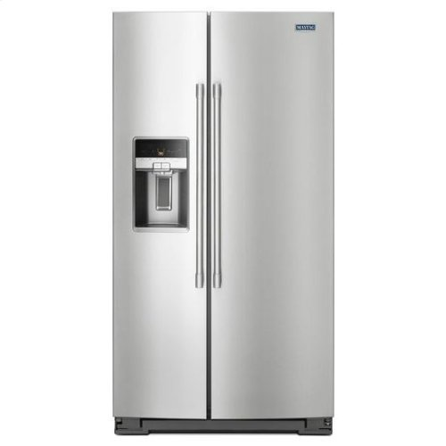 Maytag® 36- Inch Wide Side-by-Side Refrigerator with External Ice and Water- 26 Cu. Ft. - PrintShield Stainless