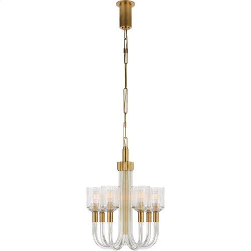 Visual Comfort KW5400CRB/AB Kelly Wearstler Reverie 7 Light 18 inch Clear Ribbed Glass and Brass Chandelier Ceiling Light
