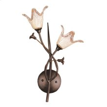 Fioritura 2-Light Wall Lamp in Aged Bronze with Floral-shaped Glass
