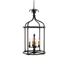 4-Light Hand Painted Rustic Black Lantern with Age
