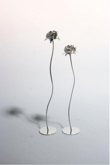 Bright Silver Flower Sculpture