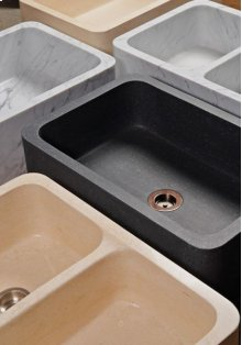 Polished Front Farmhouse Sinks Honed Basalt