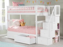 Columbia Staircase Bunk Bed Twin over Twin with Raised Panel Bed Drawers in White