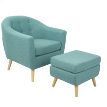 Rockwell Chair + Ottoman Set - Natural Wood, Teal Green Fabric