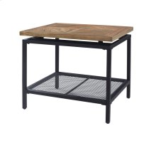 End Table-golden Oak Wood Top W/black Metal Legs & Mesh Shelf Rta