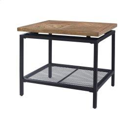 End Table-golden Oak Wood Top W/black Metal Legs & Mesh Shelf Rta