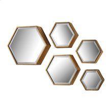 Hexagonal mirror. - Set of 5