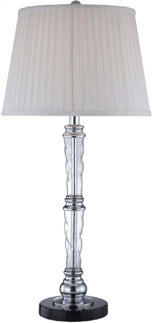 Table Lamp,chrome/marble/glass Body/white Fabric,e27 Cfl 23w