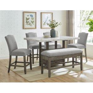 Steve Silver Co.Grayson 6 Piece White Marble Top Counter Set(Counter Table, Counter Bench & 4 Counter Chairs)