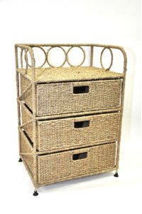 Sea grass Cabinet with 3 Drawers- 18x14x26 Product Image