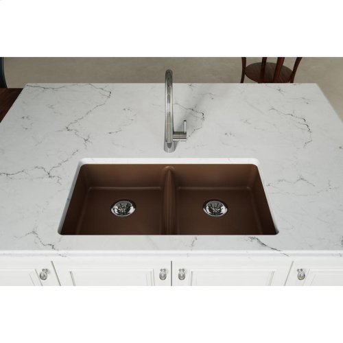 "Elkay Quartz Classic 33"" x 18-1/2"" x 5-1/2"", Undermount ADA Sink with Perfect Drain, Mocha"
