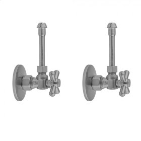 """Unlacquered Brass - Quarter Turn Angle Pattern 5/8"""" O.D. Compression (Fits 1/2"""" Copper) x 3/8"""" O.D. Faucet Supply Kit with Standard Cross Handle, 20"""" Supply Tubes, Escutcheons"""