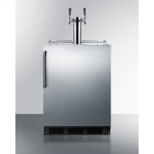 Built-in Undercounter ADA Height Commercially Listed Dual Tap Beer Dispenser In Stainless Steel