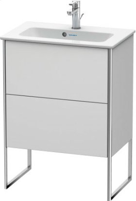 Vanity Unit Floorstanding Compact, White Satin Matt Lacquer