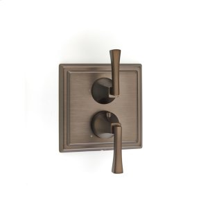Dual Control Thermostatic With Diverter and Volume Control Valve Trim Leyden Series 14 Bronze