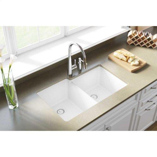 "Elkay Quartz Classic 33"" x 20-1/2"" x 9-1/2"", Offset Double Bowl Undermount Sink, White"