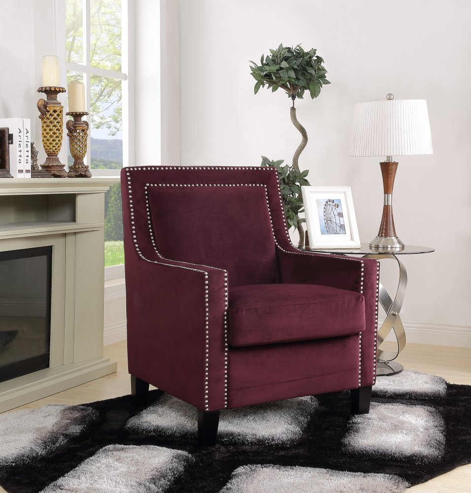 Manor Burgundy Velvet Accent Arm Chair With Nailhead Trim