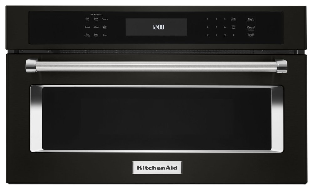 Kitchenaid Black 27 Built In Microwave Oven With Convection Cooking Stainless Steel Printshield Finish