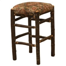 "Square Counter Stool - 24"" high - Natural Hickory - Customer Fabric"