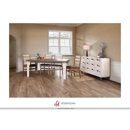 Wooden Dining Table White And Brown Finish