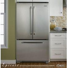 "Renaissance 36"" Epicure French Door Freestanding Cabinet-Depth Bottom Freezer Refrigerator, in Stainless Steel"