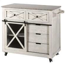 Farmhouse Island  40In X 18in X 36in  White Washed Finish Ash Wood Veneer With 15Mm Granite Top