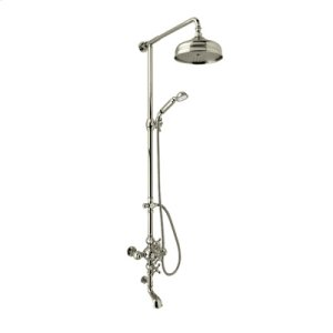 Satin Nickel Exposed Wall Mount Thermostatic Tub/Shower With Volume Control with Arcana Ornate Porcelain Handle