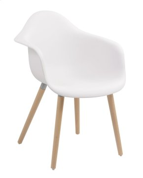 Annette - Dining Chair White Pu Seat W/arms-wood Legs