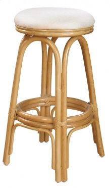 "Vanessa Indoor Swivel Rattan & Wicker 30"" Bar Stool in Natural Finish with Cushion"