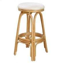 """Vanessa Indoor Swivel Rattan & Wicker 30"""" Bar Stool in Natural Finish with Cushion"""