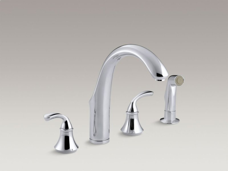 Hidden Additional Vibrant Brushed Nickel 4 Hole Kitchen Sink Faucet With 7 3