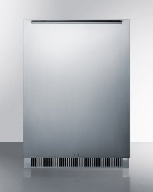 Built-in Undercounter All-refrigerator In Complete Stainless Steel, With Digital Thermostat, LED Lighting, Door Storage, White Interior, and Lock