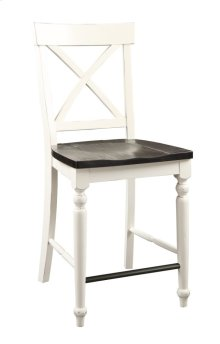X-back Barstool Antique White W/dk Brown Wood Seat Set Up