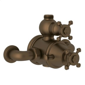 English Bronze Perrin & Rowe Georgian Era Exposed Therm Valve With Volume And Temperature Control with Georgian Era Cross Handle