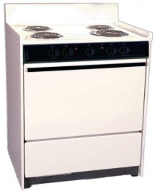 """Bisque 220v Electric Range In 30"""" Width With Storage Compartment"""