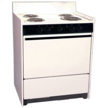 "Bisque 220v Electric Range In 30"" Width With Storage Compartment"