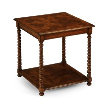 Oyster Veneer Square Side Table