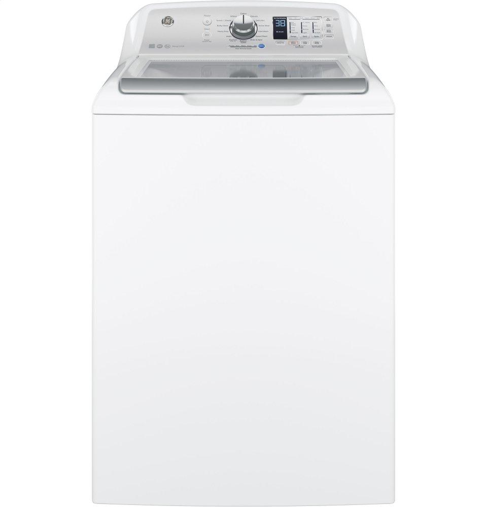 GE(R) 4.6 DOE cu. ft. Capacity Washer with Stainless Steel Basket  WHITE