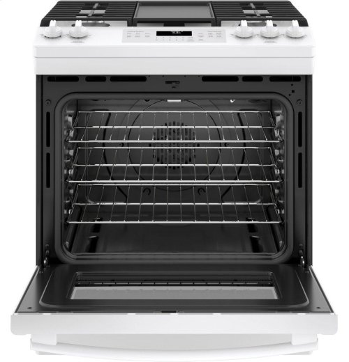 "GE® 30"" Slide-In Front Control Convection Gas Range"