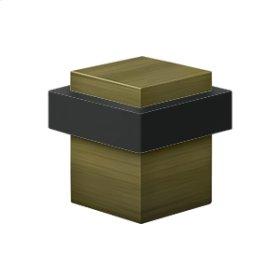 "Square Universal Floor Bumper 1-3/8"", Solid Brass - Antique Brass"