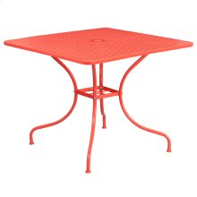 35.5'' Square Coral Indoor-Outdoor Steel Patio Table