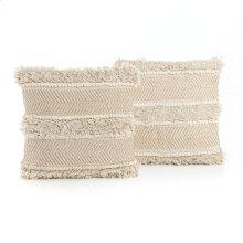 """White Copper Fringe Pillow, Set of 2-18"""""""