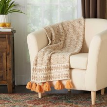 "Throw Bx067 Natural 50"" X 60"" Throw Blanket"