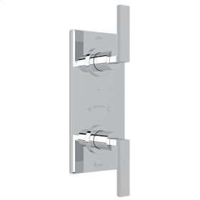 """Polished Chrome Wave 1/2"""" Thermostatic/Diverter Control Trim with Wave Metal Lever"""