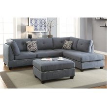 Grey Reversible Chaise Sectional with Ottoman Included