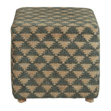 Beige & Navy Square Pouf