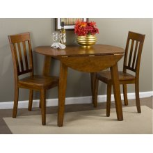 Simplicity Caramel Drop Leaf Table With Two Slat Back Chairs